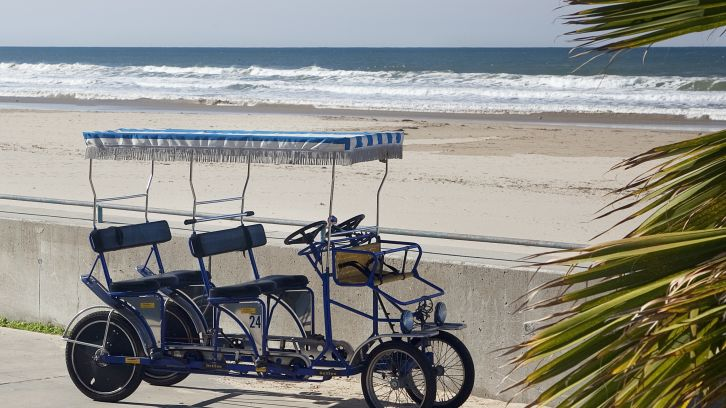 double recumbent bike on beach
