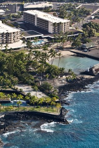 Aerial view of Marriott Kona Beach and hotel property