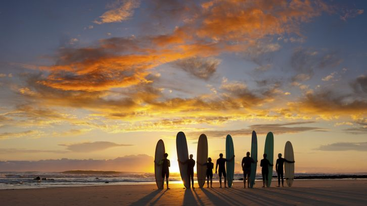 surfers and surfboards standing on beach at sunset