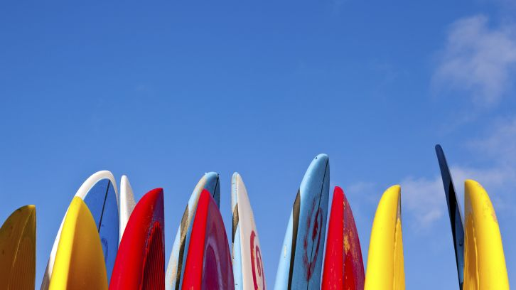 row of colorful surboards against blue sky