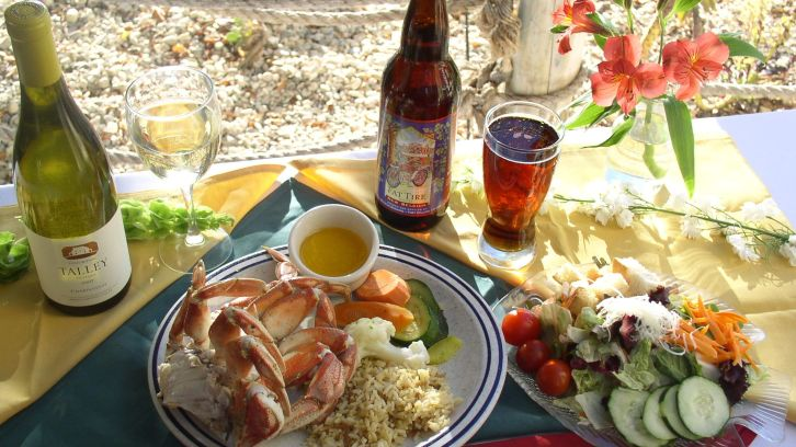 bottles of wine and beer, shrimp plate, veggies on picnic blanket
