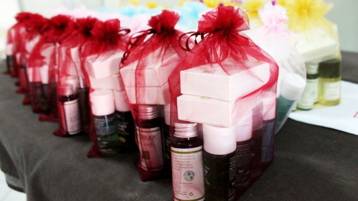 giftwrapped toiletries on table