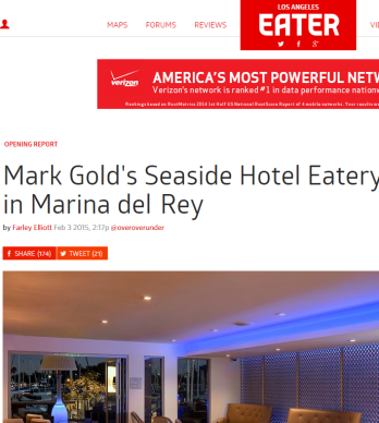 MARK GOLD'S SEASIDE HOTEL EATERY SALT HAS LANDED IN MARINA DEL REY