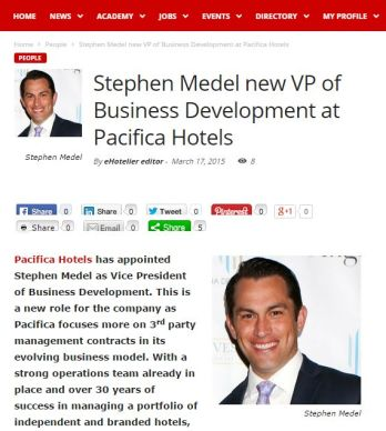 STEPHEN MEDEL NEW VP OF BUSINESS DEVELOPMENT AT PACIFICA HOTELS