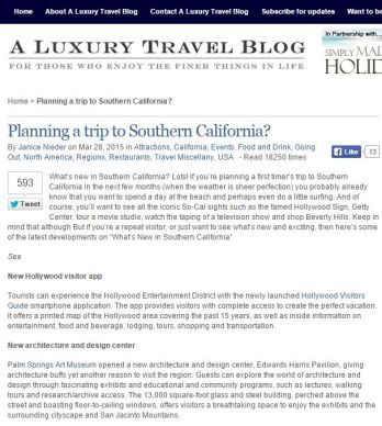 PLANNING A TRIP TO SOUTHERN CALIFORNIA?
