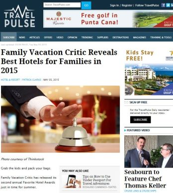 FAMILY VACATION CRITIC REVEALS BEST HOTELS FOR FAMILIES IN 2015