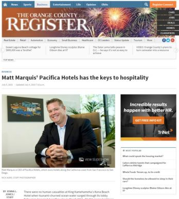 MATT MARQUIS' PACIFICA HOTELS HAS THE KEYS TO HOSPITALITY