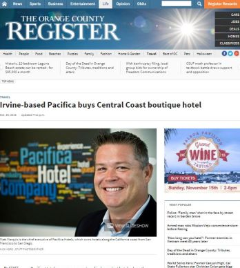 IRVINE BASED PACIFICA BUYS CENTRAL COAST BOUTIQUE HOTEL