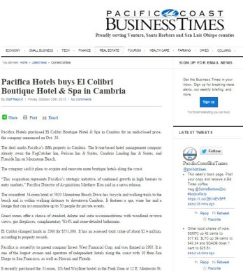 PACIFICA HOTELS BUYS EL COLIBRI BOUTIQUE HOTEL & SPA IN CAMBRIA