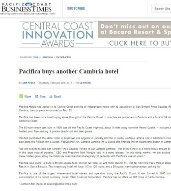 PACIFICA BUYS ANOTHER CAMBRIA HOTEL