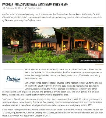 PACIFICA HOTELS PURCHASES SAN SIMEON PINES RESORT