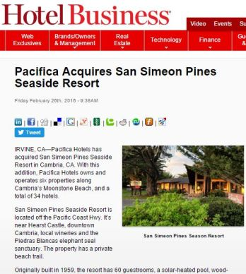 PACIFICA ACQUIRES SAN SIMEON PINES SEASIDE REPORT