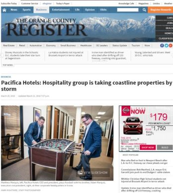 PACIFICA HOTELS: HOSPITALITY GROUP IS TAKING COASTLINE PROPERTIES BY STORM