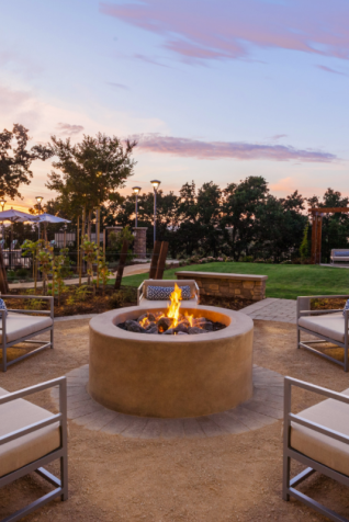 firepit and outdoor seating in the late afternoon