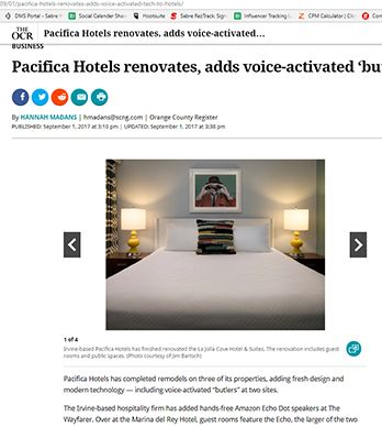 PACIFICA HOTELS RENOVATES, ADDS VOICE-ACTIVATED 'BUTLERS' TO HOTELS