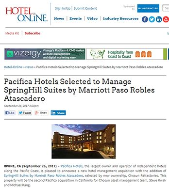 PACIFICA HOTELS SELECTED TO MANAGE SPRINGHILL SUITES BY MARRIOTT PASO ROBLES ATASCADERO