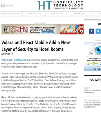 VOLARA AND REACT MOBILE ADD A NEW LAYER OF SECURITY TO HOTEL ROOMS