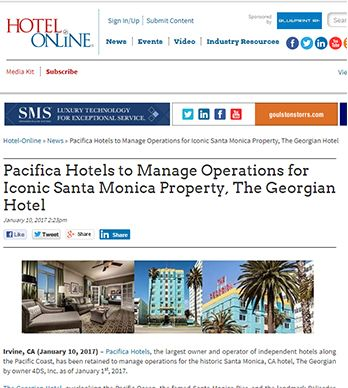 PACIFICA HOTELS TO MANAGE OPERATIONS FOR ICONIC SANTA MONICA PROPERTY, THE GEORGIAN HOTEL