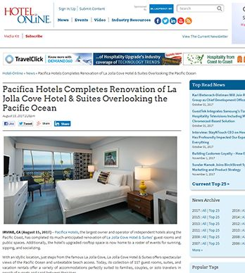 PACIFICA HOTELS COMPLETES RENOVATION OF LA JOLLA COVE HOTEL & SUITES OVERLOOKING THE PACIFIC OCEAN