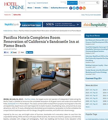 PACIFICA HOTELS COMPLETES ROOM RENOVATION OF CALIFORNIA'S SANDCASTLE INN AT PISMO BEACH