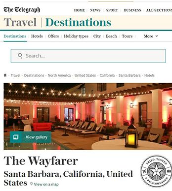 TRAVEL DESTINATIONS: THE WAYFARER SANTA BARBARA CA