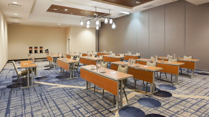 spacious metting room with long tables