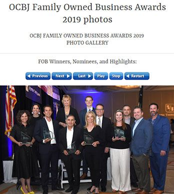 PACIFICA HOTELS HONORED WITH 2019 ORANGE COUNTY BUSINESS JOURNAL FAMILY-OWNED BUSINESS AWARD